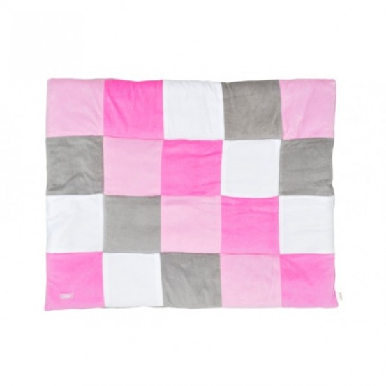 Jollein Boxkleed 80x100cm Block pink/grey