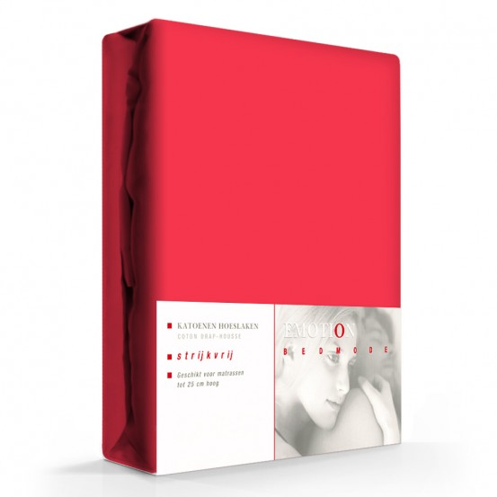 Hoeslaken Katoen Strijkvrij Rood-90 x 200 cm