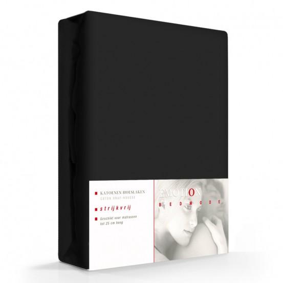 Emotion Hoeslaken Katoen Strijkvrij Zwart-90 x 200 cm