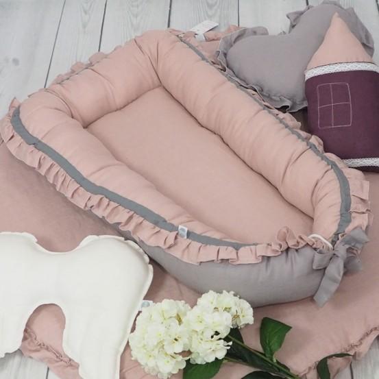 Linnen Babynestje met Ruches Dusty Pink Betulli