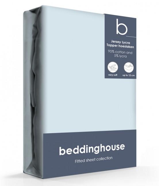 Beddinghouse Jersey-Lycra Topper Hoeslaken Koraal Lichtblauw