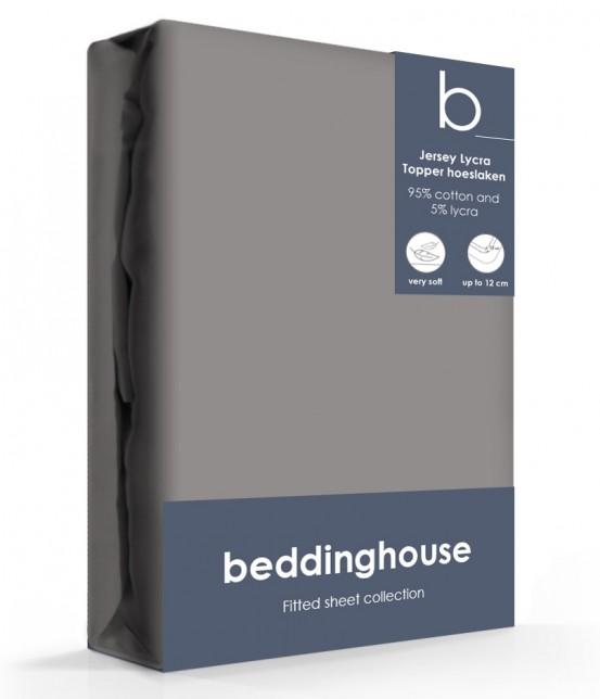 Beddinghouse Jersey-Lycra Topper Hoeslaken Warm Grijs