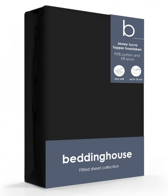 Beddinghouse Jersey-Lycra Topper Hoeslaken Zwart