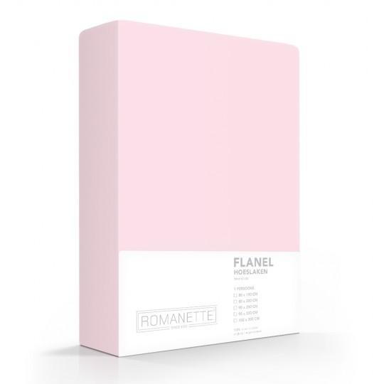 Flanellen Hoeslaken Roze Romanette