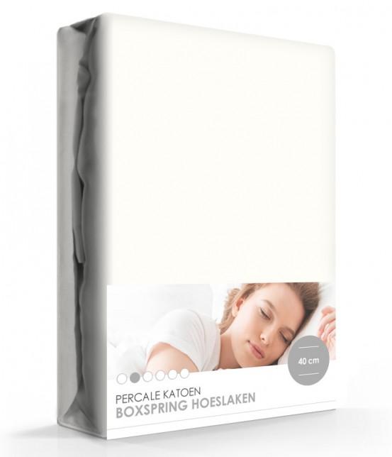 ISeng Percale Katoen Hoeslaken Extra Hoog Off-white