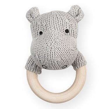 Jollein Rammelaar Bijtring Ø 7cm Hippo Soft Knit Light Grey