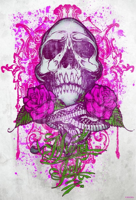 Miami Ink Fotobehang Pink Tattoo Skull (Wallpaper)