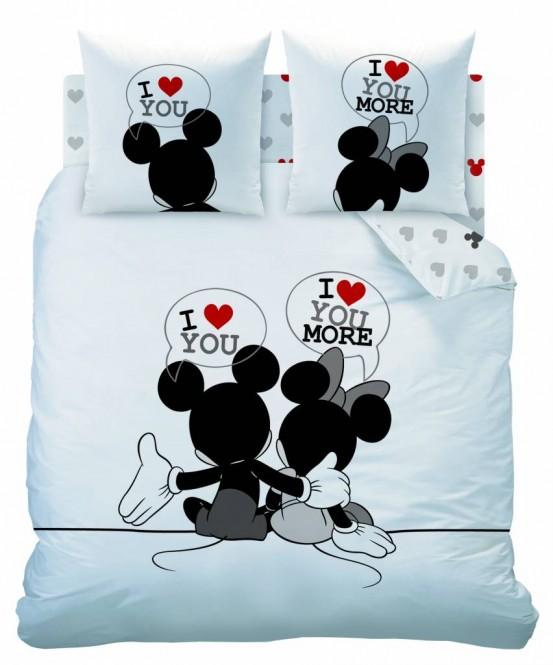 Dekbedovertrek Mickey & Minnie Mouse I Love You