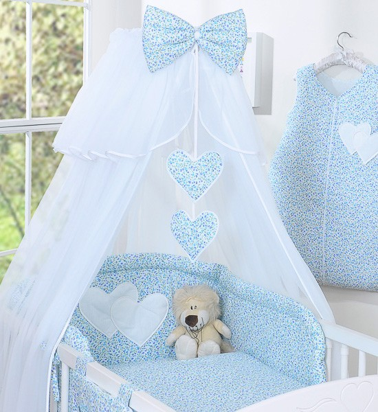 3-Delig Bedset Two Hearts Voile Bloem/Blauw