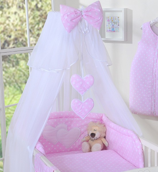 3-Delig Bedset Two Hearts Voile Stip/Roze