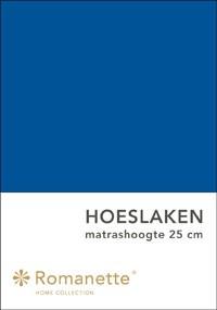 Romanette Hoeslaken Katoen Kobalt Blauw-90 x 200 cm