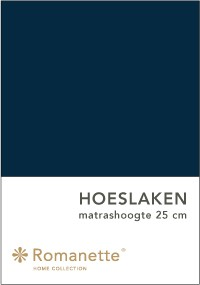 Romanette Hoeslaken Katoen Marine-90 x 200 cm