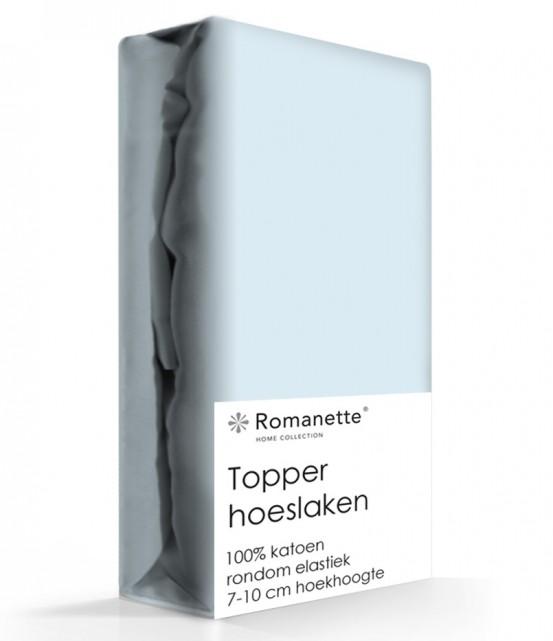 Topper Hoeslaken Katoen Romanette Blauw