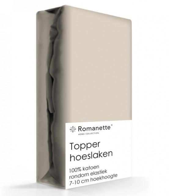 Topper Hoeslaken Katoen Romanette Camel