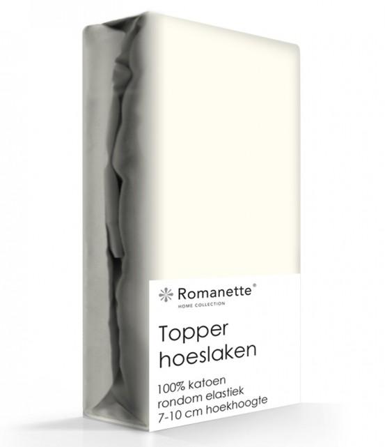 Topper Hoeslaken Katoen Romanette Ivoor