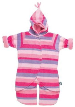 Split Voetenzak Pink Stripe 0-6mnd