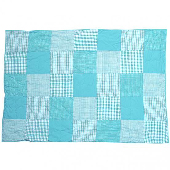 Taftan Sprei Ruitjes Patch Turquoise 120x170cm