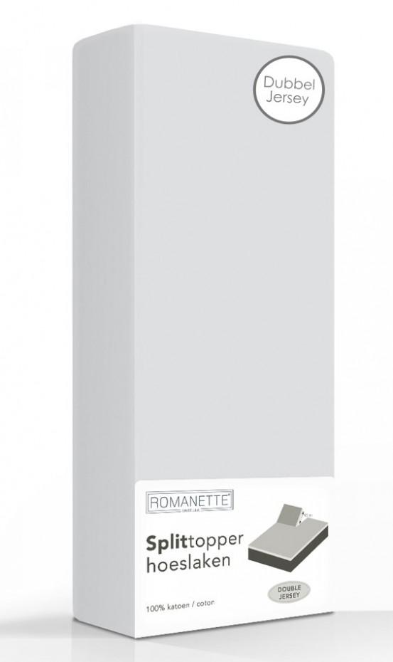 Double Jersey Splittopper Hoeslaken Romanette Zilver