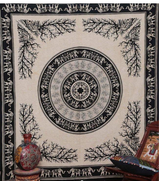 Grand foulard elephant mandala tree of life - Grand mandala ...