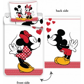 Disney Dekbedovertrek Minnie en Mickey Kissing