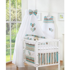 3-Delig Bedset Two Hearts Katoen Brown/Stripes