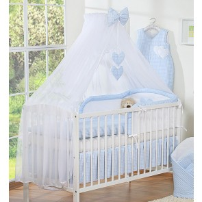 3-Delig Bedset Two Hearts Voile Ruit/Blauw