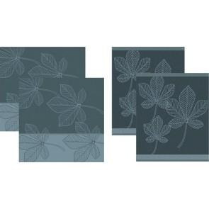 DDDDD Keukendoeken En Theedoeken Leaves Atlantic Blue (2+2 stuks)