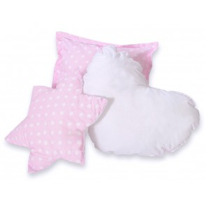 3-Delige Kussenset Dots Pink-White