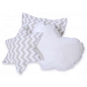 3-Delige Kussenset Chevron Grey