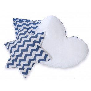 3-Delige Kussenset Chevron Dark Blue