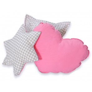 3-Delige Kussenset Checkered Grey-Pink