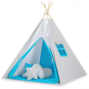 Tipi Speeltent Checkered Grey-Blue