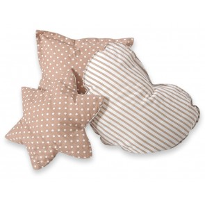 3-Delige Kussenset Dots/Stripes Beige-White
