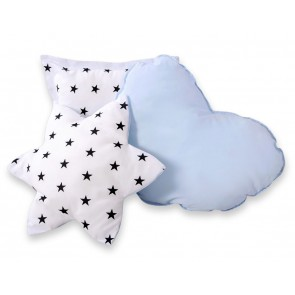 3-Delige Kussenset Stars Black-Blue