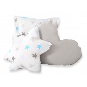 3-Delige Kussenset Stars Grey-Blue