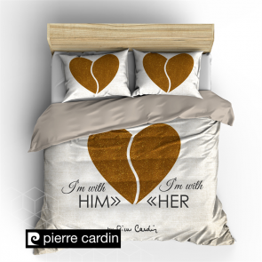 Pierre Cardin Dekbedovertrek Him & Her Ecru/Gold