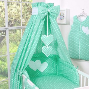 3-delig Bedset Two Hearts Katoen Mint/Dots
