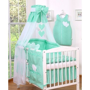 3-Delig Bedset Two Hearts Voile/Katoen Mint/Dots