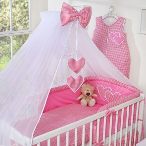 3-Delig Bedset Two Hearts Voile Ruit/Fuchsia