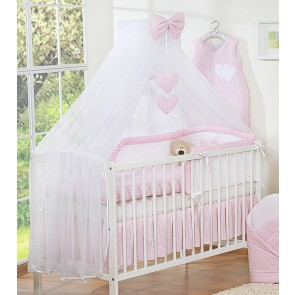3-Delig Bedset Two Hearts Ruit/Roze Voile