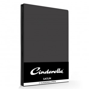 Cinderella Kussenslopen Satijn Antraciet (2 stuks)