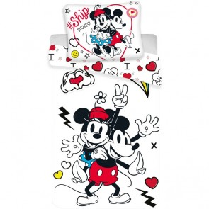 Minnie en Mickey Mouse Dekbedovertrek Retro Heart