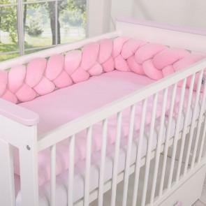 Gevlochten Box/Bedbumper Roze