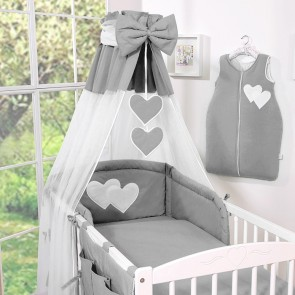 Bedset 3-Delig Two Hearts Antraciet Voile/Katoen