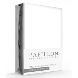 Hoeslaken Percal Papillon Wit