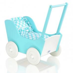 Houten Poppenwagen Turquoise-Wit Dots