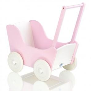 Houten Poppenwagen Roze/Wit