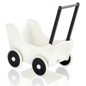 Houten Poppenwagen wit-zwart