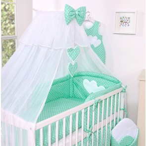 3-Delig Bedset Two Hearts Voile Mint/Dots