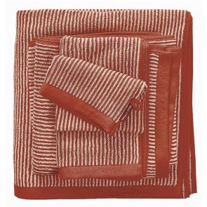 Marc O'Polo badgoed Timeless Tone Stripe burnt Orange & Oatmeal